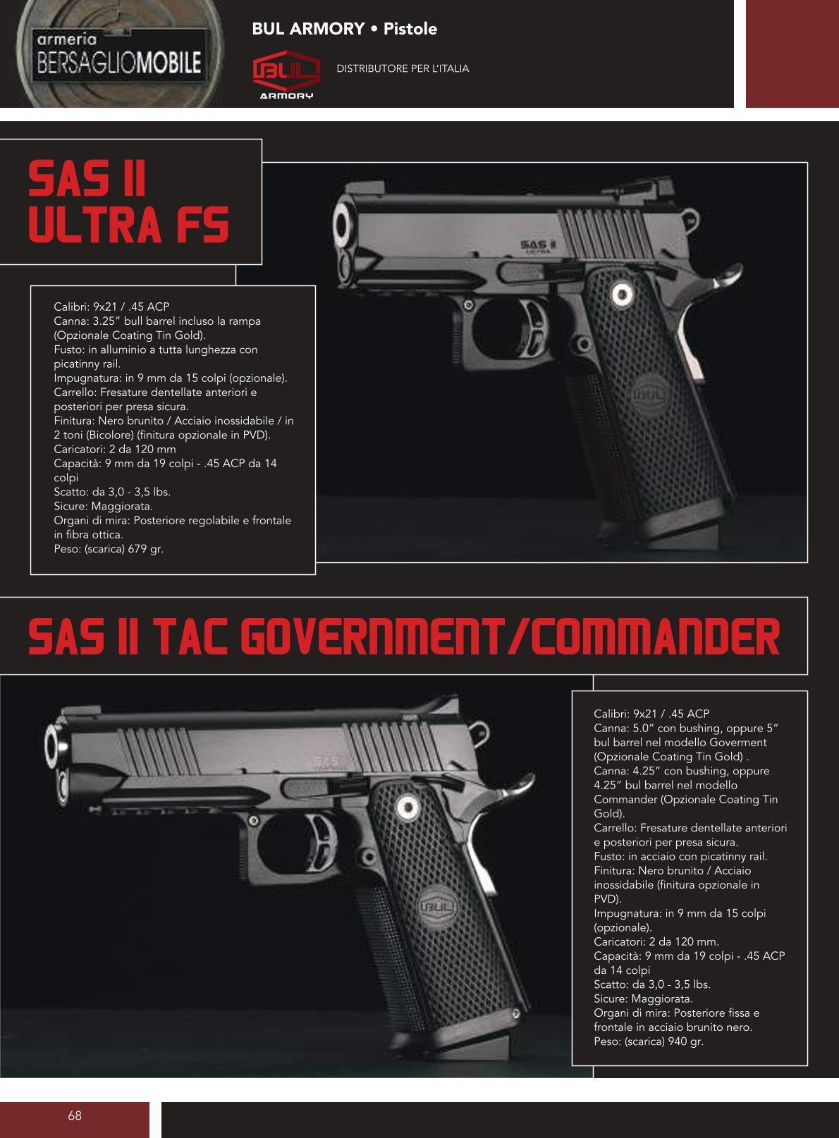 Bul Armory - Sas II Ultra FS - Sas II Tac Government/Commander - Armeria Bersaglio Mobile