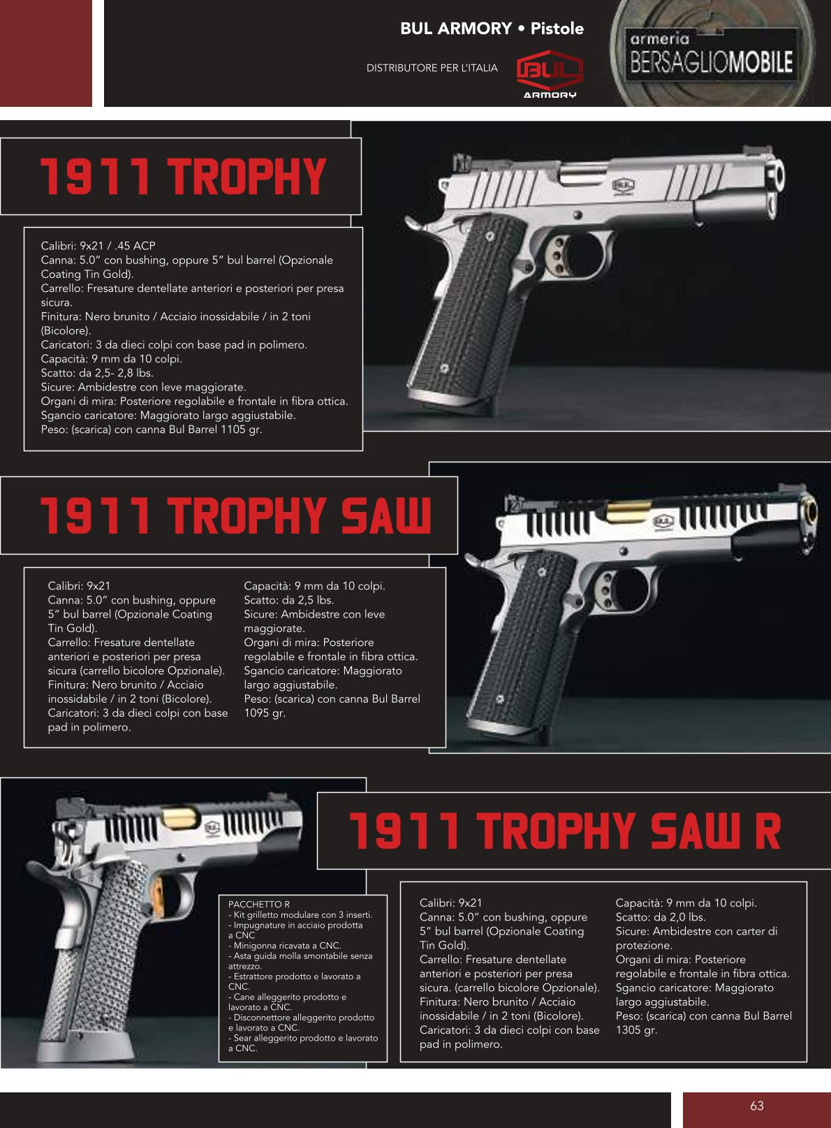 Bul Armory - 1911 Trophy - 1911 Trophy Saw - 1911 Trophy Saw R - Armeria Bersaglio Mobile