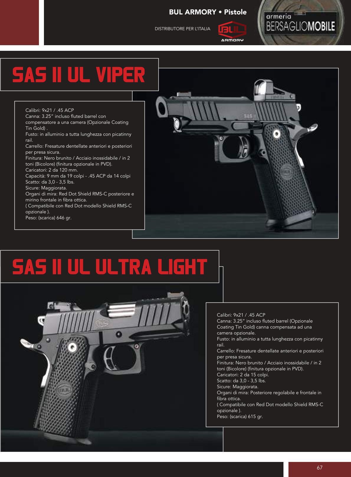 Bul Armory - Sas II UL Viper - Sas II UL Ultra Light - Armeria Bersaglio Mobile